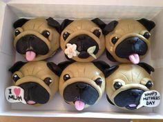 Dog Cupcakes, Animal Cupcakes, Fun Cookies, Cupcake Cookies, Pug Birthday Cake, 9th Birthday, Pug Cake, Puppy Party, Sugar Craft