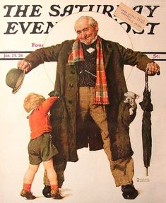 The gift, illustration for the saturday evening post, jan 25 1936 by Norman Rockwell. Norman Rockwell Prints, Norman Rockwell Paintings, The Saturdays, Norman Rockwell Christmas, Poster Art, Saturday Evening Post, Old Magazines, Vintage Magazines, American Artists