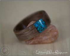 Walnut Wood Ring with Transverse Turquoise Inlay