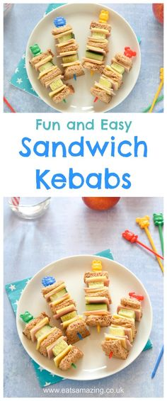 Fun and easy Sandwich Kebabs for kids - these fun sandwich skewers are perfect for lunch boxes bento boxes snacks and party food too - Eats Amazing UK