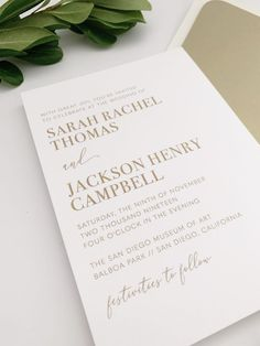 Gold Thermography Wedding Invitations Minimalist Wedding Invitations, Foil Stamped Wedding Invitations, Classic Wedding Invitations, Gold Invitations, Wedding Invitation Design, Custom Invitations, Minimal Wedding, Monogram Wedding, Modern City
