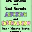 This download is a BUNDLE package of Addition and Subtraction One Minute Math Test - Set One and Two for first and second grade.    Addition and Subt...