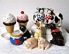 Adorable cute and funny collectible salt and pepper shakers! www.countryjoycrafts.com