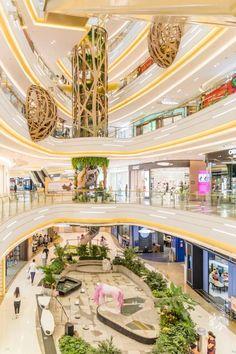 Landscape Architecture Design, Green Architecture, Concept Architecture, Shopping Mall Architecture, Shopping Mall Interior, Atrium Design, Column Design, Interior Design Renderings, Commercial Interior Design