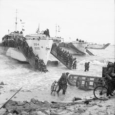 Troops from 50th Division coming ashore from LSI(L)s, GOLD area