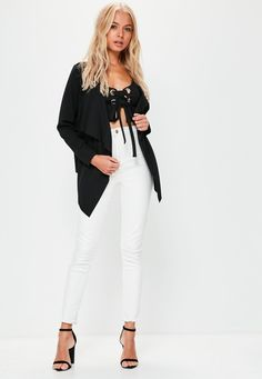 Missguided - Black Crepe Waterfall Blazer