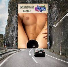DUREX condoms billboard in France: Enter the Tunnel Safely