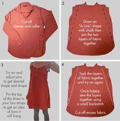 dress from a mens shirt tutorial