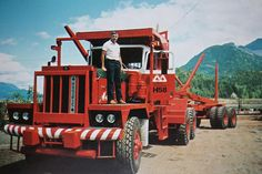 Don Bryer and his brand-new Pacific log truck equipped with a 500 hp engine, 16 foot bunks and 9 foot stakes at Kelsey Bay in 1987.