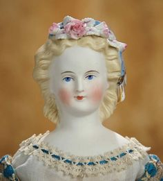 A Matter of Circumstance: 162 Petite German Bisque Lady with Lovely Dresden Hair Ornaments