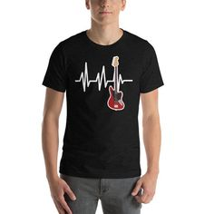 Electric Guitar Tshirt - Guitar Heartbeat Shirt - Red Guitar - Guitar Shirt - Guitar Player Gift - G Physical Therapy Shirts, Mens Printed T Shirts, Sloth Shirt, Gamer Shirt, Heartbeat, Cute Shirts, Birthday Shirts, Fabric Weights, Female Models