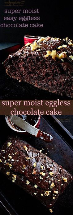 Learn how to make Super Moist Easy Eggless Chocolate Cake with few ingredients. It is an efficient and easy recipe that any beginner can bake. You will never bake a chocolate cake any other way. Eggless Chocolate Cake, Eggless Desserts, Eggless Recipes, Eggless Baking, Chocolate Banana Bread, Chocolate Recipes, Easy Desserts, Baking Recipes, Delicious Desserts