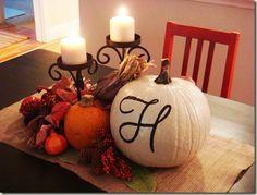 Fall centerpiece- love the monogrammed pumpkin