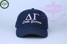 Delta Gamma Sorority Baseball Cap  Custom Color by TheTurnipSeed  Hat Color: PD Dusk Stitching (same as photo)