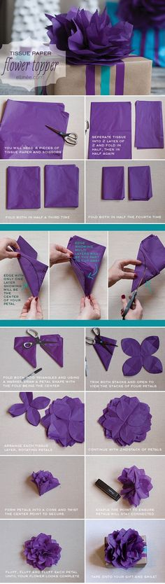 photo tutorial: tissue paper flower ... great topper for brown (or any color) paper packages ...