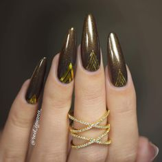 Color: Grand Gesture from the Imperial Affair collection. Manicure by Overlay Nails, Acrylic Overlay, Fall Manicure, Top Nail, Nail Technician, Gold Nails, Creative Nails, Jewel Tones, Shellac