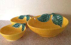 Vintage Pottery Figural Orange Bowl Set by ContemporaryVintage