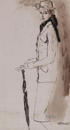 René Bouché (1905 - 1963) Original Fashion Illustration Model with Hat, Scarf & Umbrella C1940's, Ink & Wash on Paper, signed 40 x 22 cms £3,500
