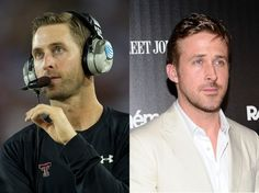 Kliff Kingsbury, football coach (L). Ryan Gosling, actor (R). Striking. First-year Texas Tech head coach Kliff Kingsbury's return to the school he quarterbacked at has drawn a bunch of attention since he replaced Tommy Tuberville in Lubbock, but a key question has remained ignored until now. Does Kingsbury look like actor Ryan Gosling?
