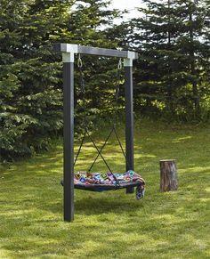 Kinderschaukel Cubic l Holzschaukel l Doppelschaukel l Nestschaukel l Schwarz - diy garden decor kids Backyard Swings, Backyard Playground, Backyard For Kids, Backyard Projects, Outdoor Projects, Backyard Patio, Backyard Landscaping, Garden Kids, Landscaping Ideas