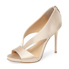 38c9a772f95b Champagne Bridal Sandals Cut out Satin Open Toe Stiletto Heels image 1  Bridal Sandals