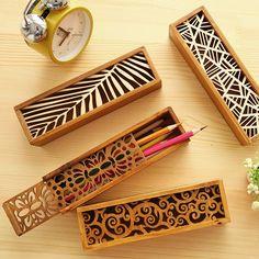 两件包邮●韩国花边镂空木质文具盒 创意多功能铅笔盒杂物收纳盒-淘宝网