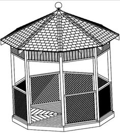 Gazebo Building Plans, 12' Square, Classic Design Cd Craft Pattern Building
