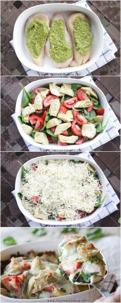 Easy Pesto, Spinach & Artichoke Chicken Bake Recipe - Step by step instructions. You won't believe how easy this is to make! Easy Pesto, Spinach & Artichoke Chicken Bake Recipe - Step by step instructions. You won't believe how easy this is to make! Think Food, I Love Food, Food For Thought, Pesto Spinach, Spinach Artichoke Chicken, Pesto Chicken Bake, Spinach Leaves, Chicken With Pesto, How To Bake Chicken