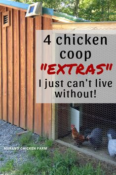 4 Absolutely must have chicken coop additions that you just cant live without! Add this to your coop to make keeping backyard chickens much easier! Chicken Coop Decor, Chicken Coop Pallets, Easy Chicken Coop, Clean Chicken, Chicken Pen, Chicken Garden, Chicken Coop Designs, Backyard Chicken Coops, Chicken Coop Plans