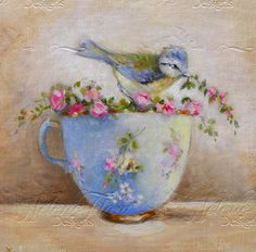 Little blue-tit, small wild roses garland & sevres tea cup - Original oil painting Helen Flont - Shabby chic