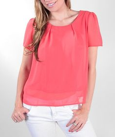 Take a look at this Coral Scoop Neck Top by Release Apparel on #zulily today!