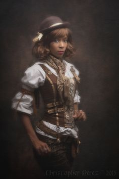 christophermarkperez:  Fleur de péché ~ Steampunk Lolita  I wouldn't call it lolita because she's not wearing a skirt with petti...