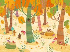 tomoto wallpaper for lilycolor Forest Illustration, Book Illustration, Watercolor Illustration, Children's Picture Books, Autumn Art, Weird Art, Whimsical Art, Woodland Animals, Sculpture