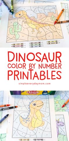 Dinosaur Color By Number Printables | Kids of all ages will love discovering the hidden picture inside these worksheets. They're a great quiet time art activity that's mess free and no prep! Click through to download your copy now.   #dinosaurs #kidscrafts #colorbynumber #activitiesforboys  #coloring #colorbynumber #kindergarten #firstgrade #teachers #activitiesforkids #kidsactivities #ideasforkids
