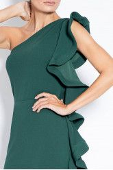 Midi dress one shoulders with ruffles. Contemporary and elegant dress. Shoulder Dress, One Shoulder, Dress First, Green Dress, Ruffles, Party Dress, Contemporary, Elegant, Luxury