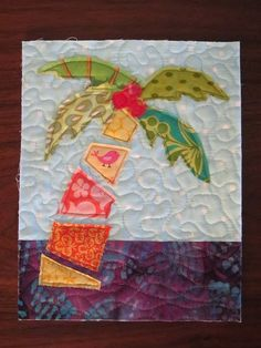 """Welcome to the South Florida Modern Quilt Guild! The Guild (also known as """"South Florida Mod"""") is a laid-back community of quilters who wan. Ocean Quilt, Beach Quilt, Tropical Quilts, Hawaiian Quilts, Fabric Cards, Fabric Postcards, Tree Quilt Pattern, Quilt Patterns, Small Quilts"""