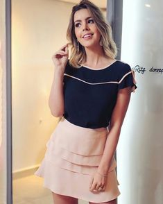 Classy Outfits, Cool Outfits, Casual Outfits, Fashion Outfits, Girls Summer Outfits, Blouse And Skirt, Work Looks, Fashion Moda, Pretty Dresses