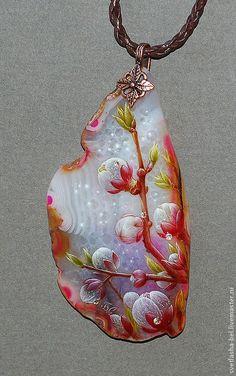 Купить Розовый Цвет... - розовый, лаковая миниатюра, живопись масло, живопись на камне