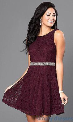 af383776d7 Shop short v-back lace dresses at Simply Dresses. Sleeveless lace dresses  and cheap homecoming dresses with beaded waistbands and a-line ski…