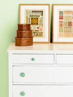Make Your Own Fabric-Covered Drawer Pulls: Give a neglected dresser a new look by covering its drawer pulls with fabric.