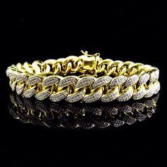 Premium 925 Sterling Silver Yellow Gold Finish World Shine Miami Cuban Franco Bracelet 12 mm Unique Bracelets, Link Bracelets, Jesus Piece, Diamond Stone, Cuban, Gold Chains, Round Diamonds, Gold Jewelry, Jewels