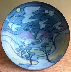 Tessa Fuchs large ceramic bowl - landscape with geese. 2000