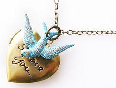 heart locket necklace bridesmaid gift long necklace by KriyaDesign