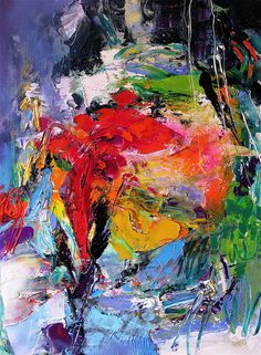 I love this colourful hot mess! It looked like scribble with beautiful bold red, gold, blue, green, purple, I don't know if it's acrylic or oil (likely oil) painted by ....Stricher Gerard