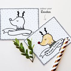 Free Printable Reindeer Holiday Card with blank ribbon for your personalised message