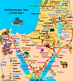 Map of Ancient Holy Land moses journey - Bing images Bible Study Notebook, Scripture Study, Bible Notes, Bible Scriptures, Heiliges Land, Image Jesus, Bibel Journal, Bible Mapping, Religion Catolica