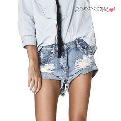 29.98$  Buy here - https://alitems.com/g/1e8d114494b01f4c715516525dc3e8/?i=5&ulp=https%3A%2F%2Fwww.aliexpress.com%2Fitem%2FChic-Ripped-Denim-Hot-Pants-Women-Shorts-Cuff-Up-Brand-Boyfriend-Jean-bermudas-jeans-Femme-Sexy%2F32720959542.html - Chic Ripped Denim Hot Pants Women Shorts Cuff Up Brand Boyfriend Jean bermudas jeans Femme Sexy pantalon feminino Black Trousers