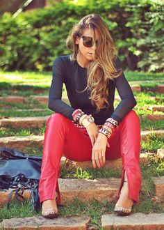 Body Feminino Calça Vermelha, Look Balada, Look Com Calça, Produção De Moda, 86cbd16bed
