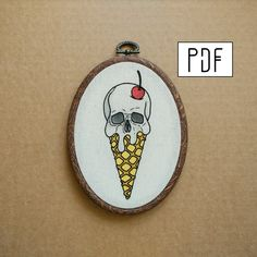 Skull Ice Cream Cone with Cherry on top Hand Embroidery Pattern (PDF modern embroidery pattern) by ALIFERA on Etsy