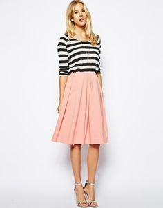 Image 1 of ASOS Midi Skirt in Ponte with Bold Pleats
